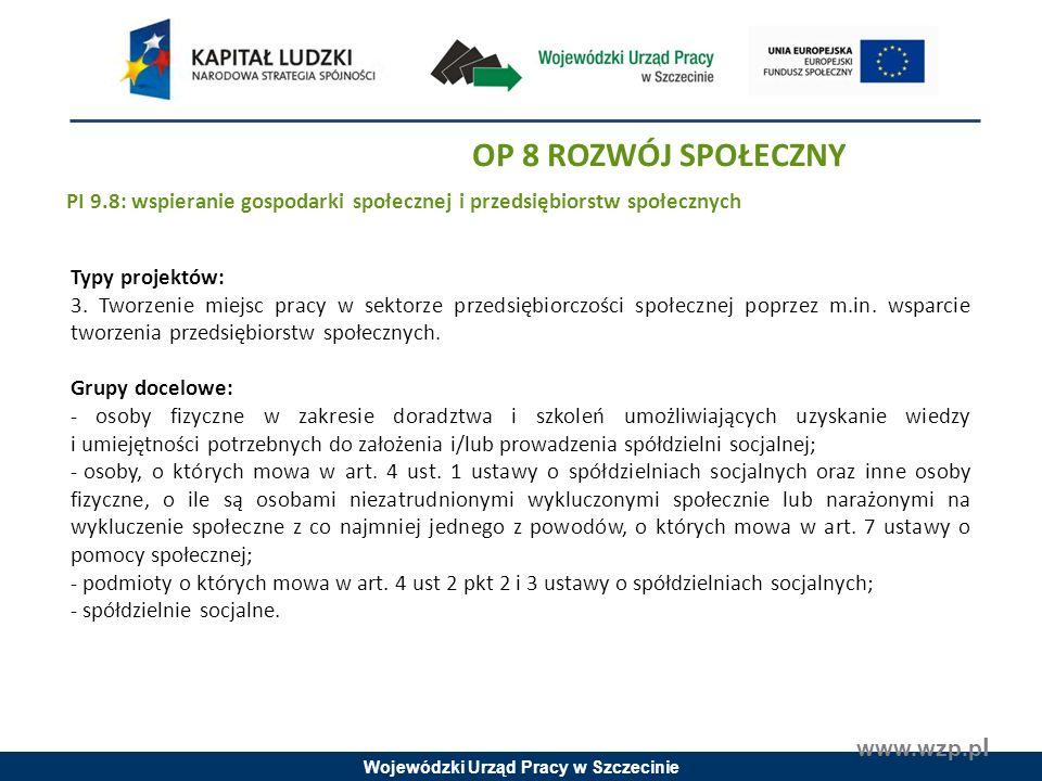 Wojewódzki Urząd Pracy w Szczecinie www.wzp.p l Typy projektów: 3.