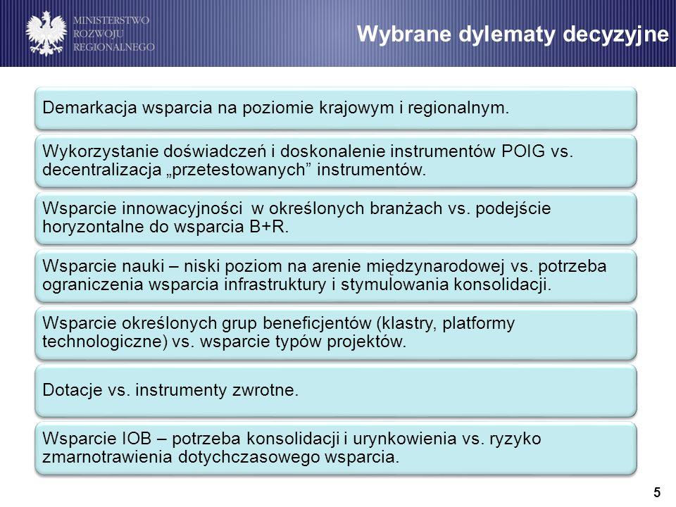 Cel główny i cele szczegółowe PO IR Zwiększenie innowacyjności i konkurencyjności polskiej gospodarki, mierzone wzrostem nakładów na B+R wzmocnienie p