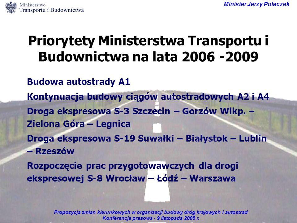 Propozycja zmian kierunkowych w organizacji budowy dróg krajowych i autostrad Konferencja prasowa - 9 listopada 2005 r. Minister Jerzy Polaczek Priory