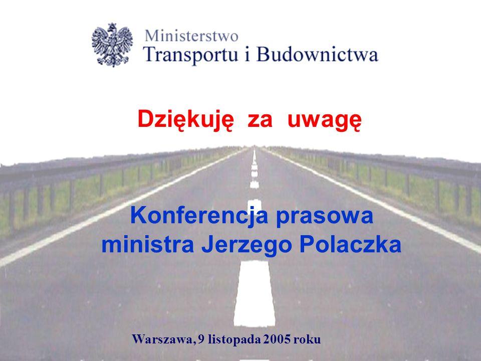 Konferencja prasowa ministra Jerzego Polaczka Warszawa, 9 listopada 2005 roku Dziękuję za uwagę