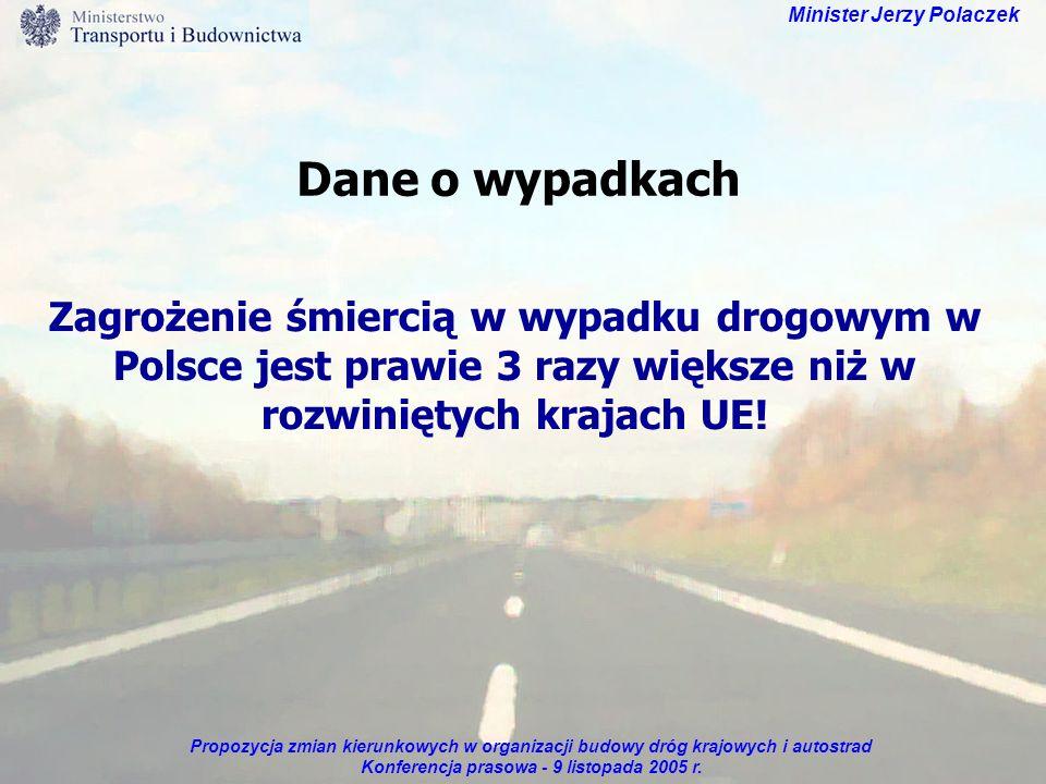 Propozycja zmian kierunkowych w organizacji budowy dróg krajowych i autostrad Konferencja prasowa - 9 listopada 2005 r. Minister Jerzy Polaczek Dane o