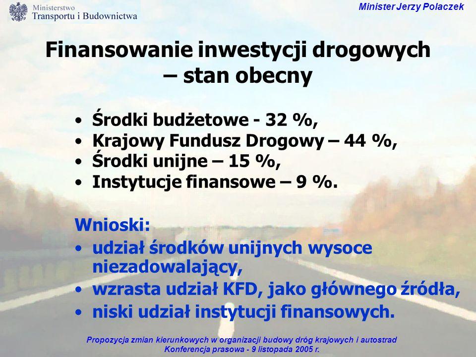 Propozycja zmian kierunkowych w organizacji budowy dróg krajowych i autostrad Konferencja prasowa - 9 listopada 2005 r. Minister Jerzy Polaczek Finans