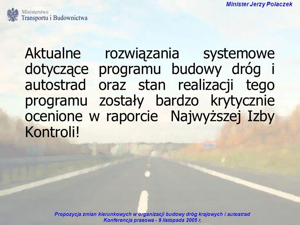 Propozycja zmian kierunkowych w organizacji budowy dróg krajowych i autostrad Konferencja prasowa - 9 listopada 2005 r. Minister Jerzy Polaczek Aktual