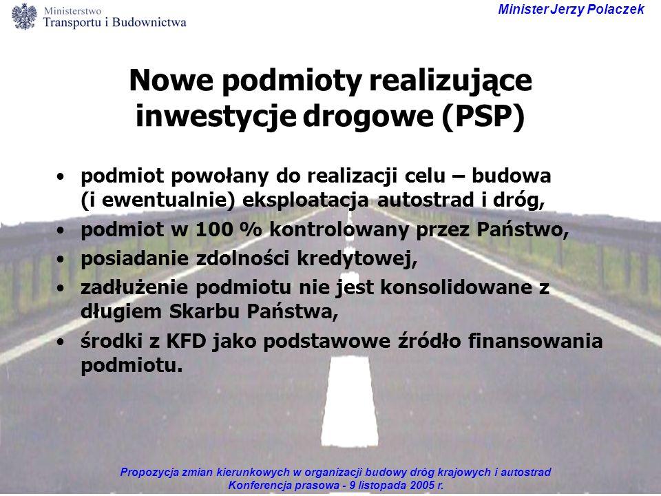 Propozycja zmian kierunkowych w organizacji budowy dróg krajowych i autostrad Konferencja prasowa - 9 listopada 2005 r. Minister Jerzy Polaczek Nowe p