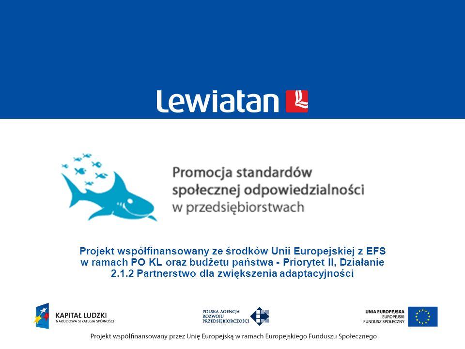 Projekt współfinansowany ze środków Unii Europejskiej z EFS w ramach PO KL oraz budżetu państwa - Priorytet II, Działanie 2.1.2 Partnerstwo dla zwięks