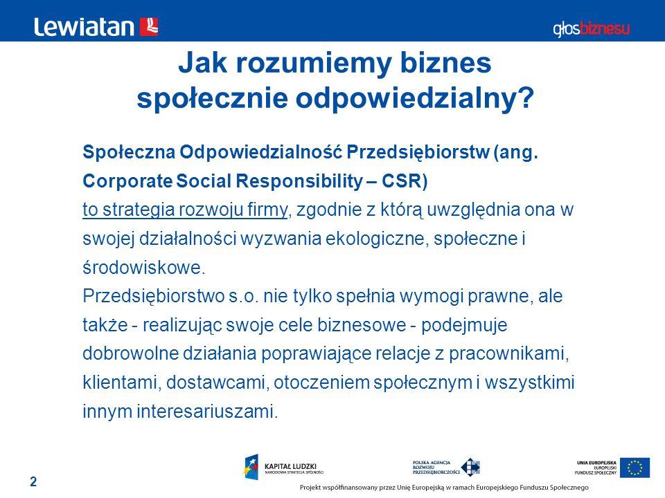 2 Jak rozumiemy biznes społecznie odpowiedzialny? Społeczna Odpowiedzialność Przedsiębiorstw (ang. Corporate Social Responsibility – CSR) to strategia