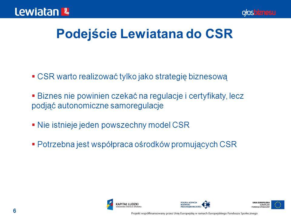 6 Podejście Lewiatana do CSR CSR warto realizować tylko jako strategię biznesową Biznes nie powinien czekać na regulacje i certyfikaty, lecz podjąć au