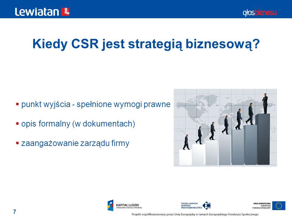 7 Kiedy CSR jest strategią biznesową? punkt wyjścia - spełnione wymogi prawne opis formalny (w dokumentach) zaangażowanie zarządu firmy