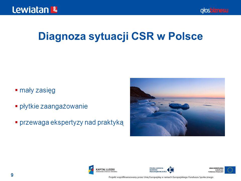 9 Diagnoza sytuacji CSR w Polsce mały zasięg płytkie zaangażowanie przewaga ekspertyzy nad praktyką