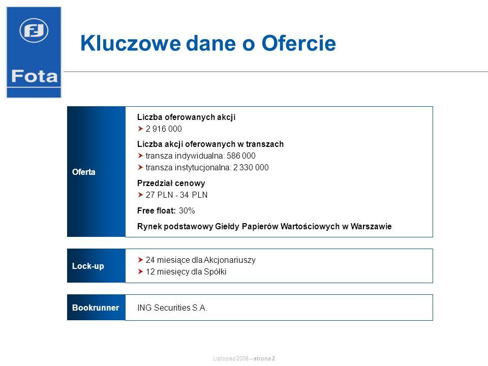 Listopad 2006 – strona 13 Rynek dystrybucji części zamiennych Przeciętne tempo wzrostu na przestrzeni ostatnich lat: 5-10% Znaczne rozdrobnienie rynku –Polska: kilkanaście podmiotów kontroluje ok.