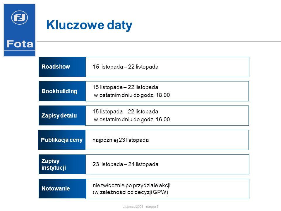 Listopad 2006 – strona 14 Rynek dystrybucji części zamiennych – potencjał wzrostu Niski poziom nasycenia rynku samochodowego Postępująca konsolidacja (wg Spółki docelowo 3-4 główni gracze koncentrujący 50% rynku w Polsce) Liberalizacja polskiego rynku części samochodowych związana z przystąpieniem Polski do UE –możliwość używania do obsługi i napraw w okresie gwarancji części o jakości porównywalnej z oryginałem –zniesienie ograniczeń w produkcji widocznych części zamiennych przez niezależnych producentów (tzw.