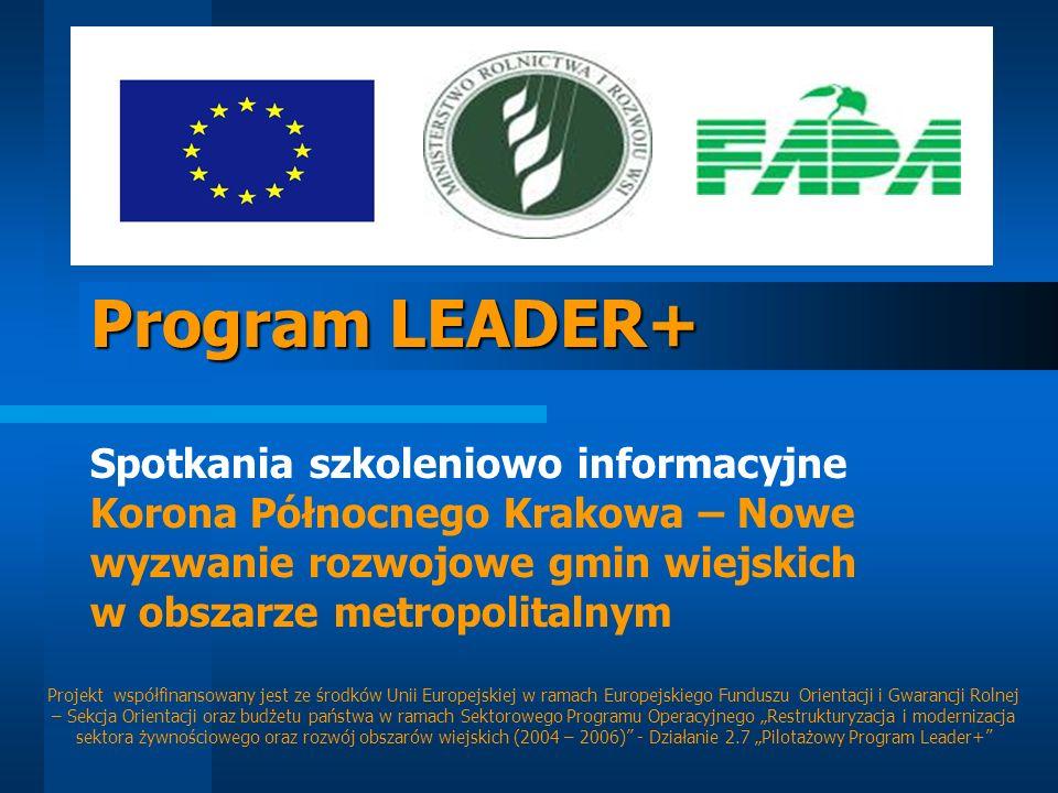 Program LEADER+ Spotkania szkoleniowo informacyjne Korona Północnego Krakowa – Nowe wyzwanie rozwojowe gmin wiejskich w obszarze metropolitalnym Proje