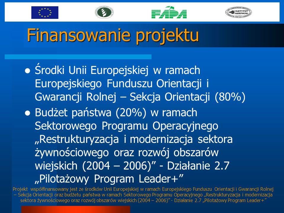 Finansowanie projektu Środki Unii Europejskiej w ramach Europejskiego Funduszu Orientacji i Gwarancji Rolnej – Sekcja Orientacji (80%) Budżet państwa