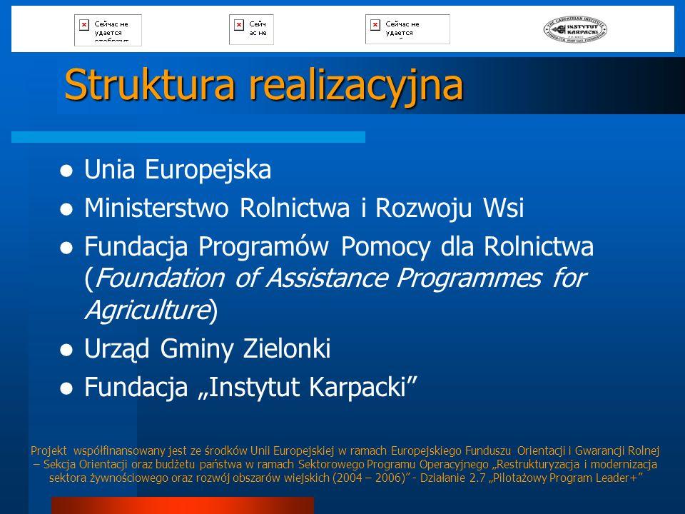Struktura realizacyjna Unia Europejska Ministerstwo Rolnictwa i Rozwoju Wsi Fundacja Programów Pomocy dla Rolnictwa (Foundation of Assistance Programm