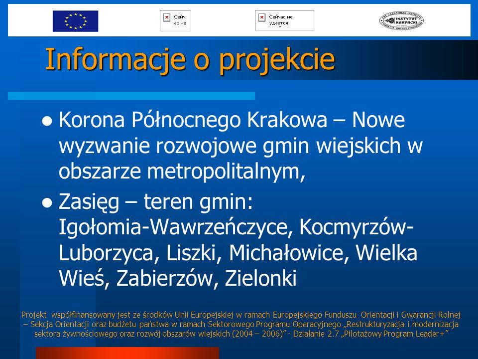 Informacje o projekcie Korona Północnego Krakowa – Nowe wyzwanie rozwojowe gmin wiejskich w obszarze metropolitalnym, Zasięg – teren gmin: Igołomia-Wa