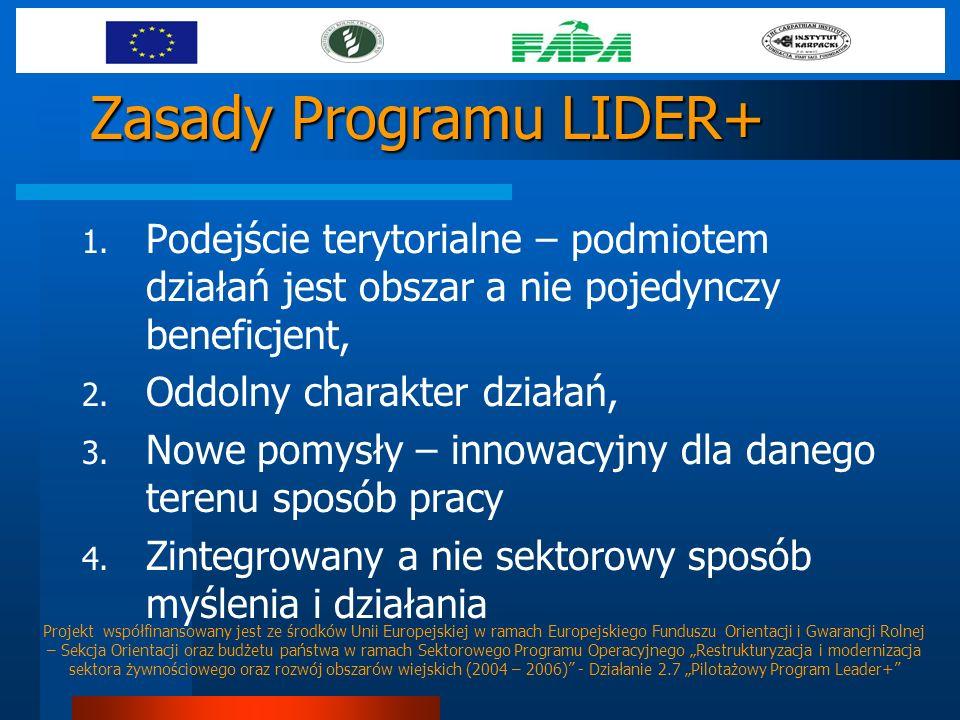 Zasady Programu LIDER+ 1. Podejście terytorialne – podmiotem działań jest obszar a nie pojedynczy beneficjent, 2. Oddolny charakter działań, 3. Nowe p