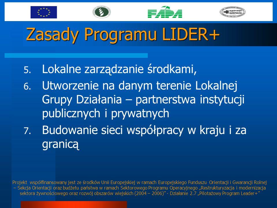 Zasady Programu LIDER+ 5. Lokalne zarządzanie środkami, 6. Utworzenie na danym terenie Lokalnej Grupy Działania – partnerstwa instytucji publicznych i