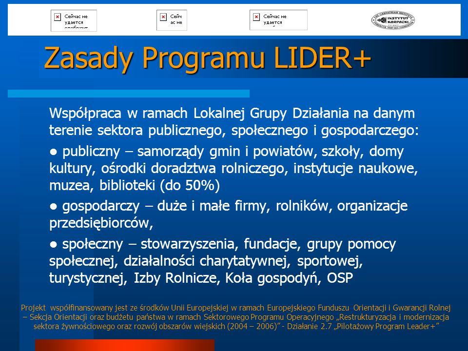 Zasady Programu LIDER+ Współpraca w ramach Lokalnej Grupy Działania na danym terenie sektora publicznego, społecznego i gospodarczego: publiczny – sam