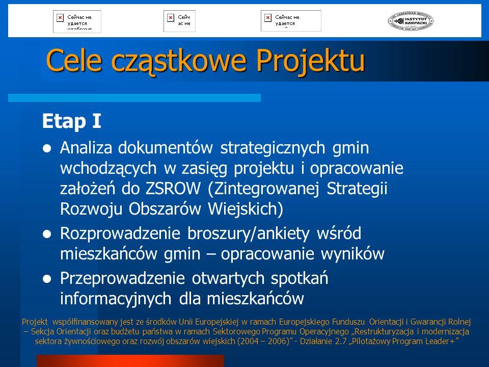 Cele cząstkowe Projektu Etap I Analiza dokumentów strategicznych gmin wchodzących w zasięg projektu i opracowanie założeń do ZSROW (Zintegrowanej Stra