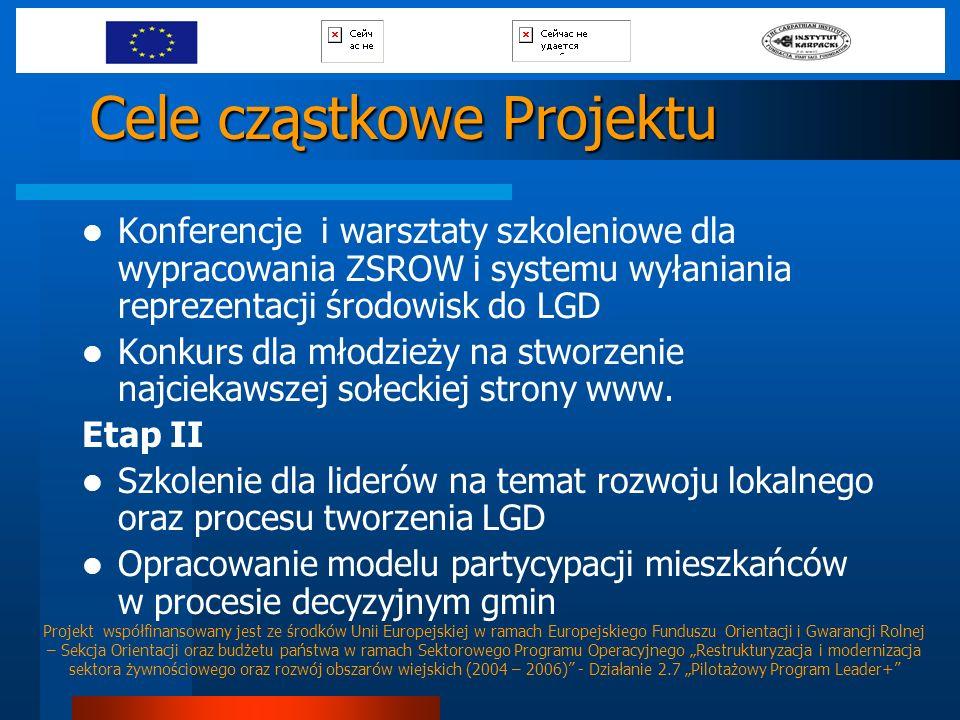 Cele cząstkowe Projektu Konferencje i warsztaty szkoleniowe dla wypracowania ZSROW i systemu wyłaniania reprezentacji środowisk do LGD Konkurs dla mło
