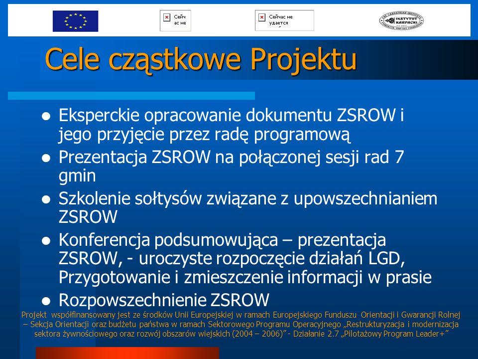 Cele cząstkowe Projektu Eksperckie opracowanie dokumentu ZSROW i jego przyjęcie przez radę programową Prezentacja ZSROW na połączonej sesji rad 7 gmin