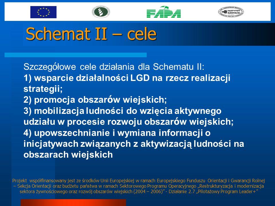 Schemat II – cele Szczeg ó łowe cele działania dla Schematu II: 1) wsparcie działalności LGD na rzecz realizacji strategii; 2) promocja obszar ó w wie