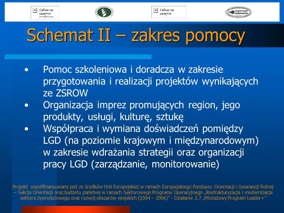 Schemat II – zakres pomocy Pomoc szkoleniowa i doradcza w zakresie przygotowania i realizacji projektów wynikających ze ZSROW Organizacja imprez promu