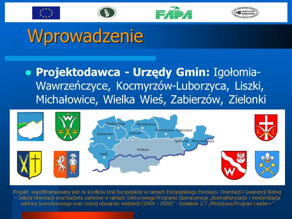 Wprowadzenie Projektodawca - Urzędy Gmin: Igołomia- Wawrzeńczyce, Kocmyrzów-Luborzyca, Liszki, Michałowice, Wielka Wieś, Zabierzów, Zielonki Projekt w