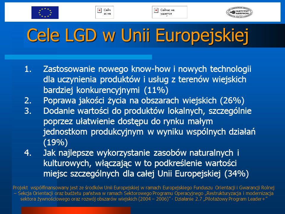 Cele LGD w Unii Europejskiej 1.Zastosowanie nowego know-how i nowych technologii dla uczynienia produktów i usług z terenów wiejskich bardziej konkure