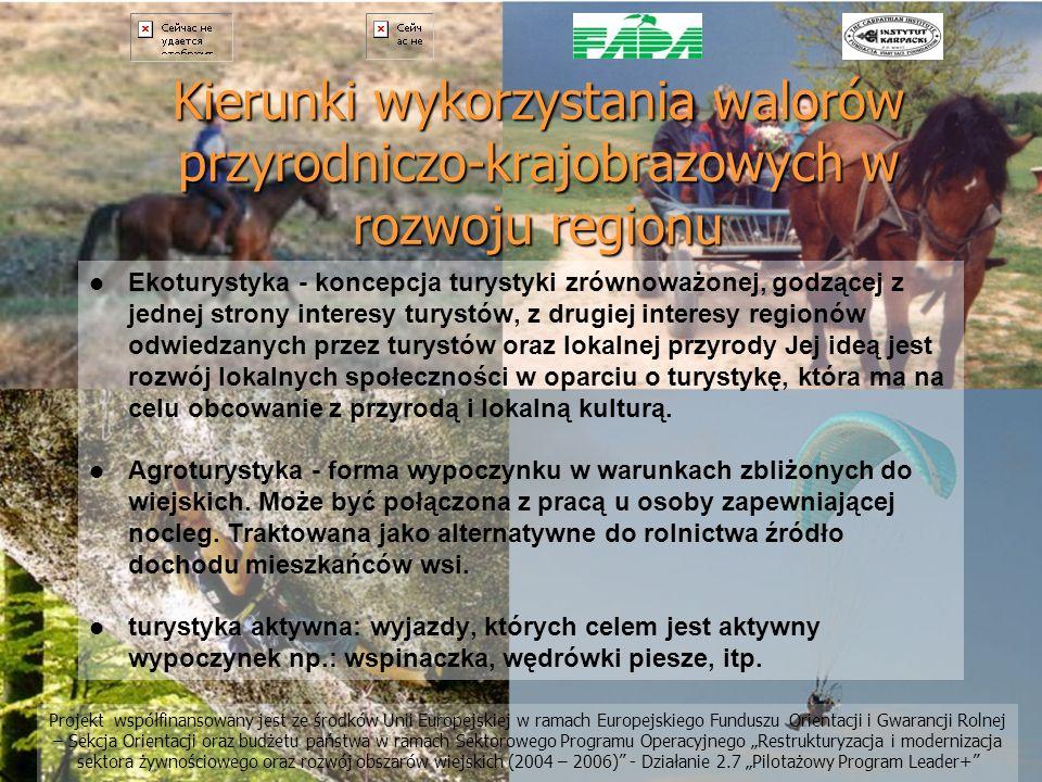 Kierunki wykorzystania walorów przyrodniczo-krajobrazowych w rozwoju regionu Ekoturystyka - koncepcja turystyki zrównoważonej, godzącej z jednej stron