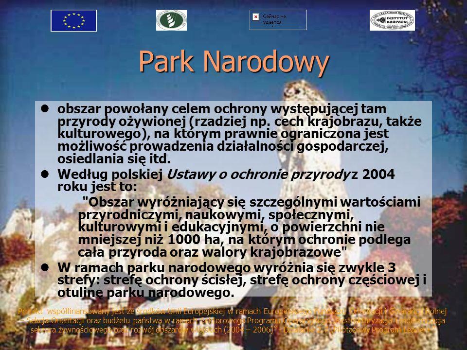 Park Narodowy obszar powołany celem ochrony występującej tam przyrody ożywionej (rzadziej np. cech krajobrazu, także kulturowego), na którym prawnie o