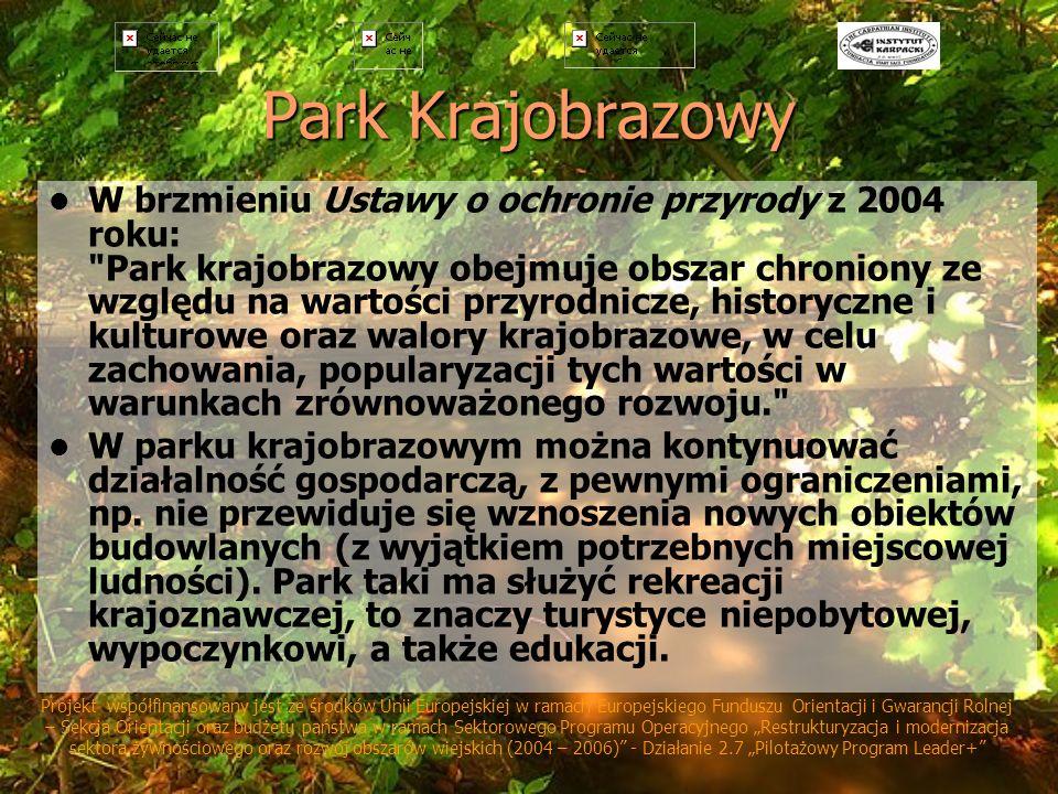 Park Krajobrazowy W brzmieniu Ustawy o ochronie przyrody z 2004 roku: