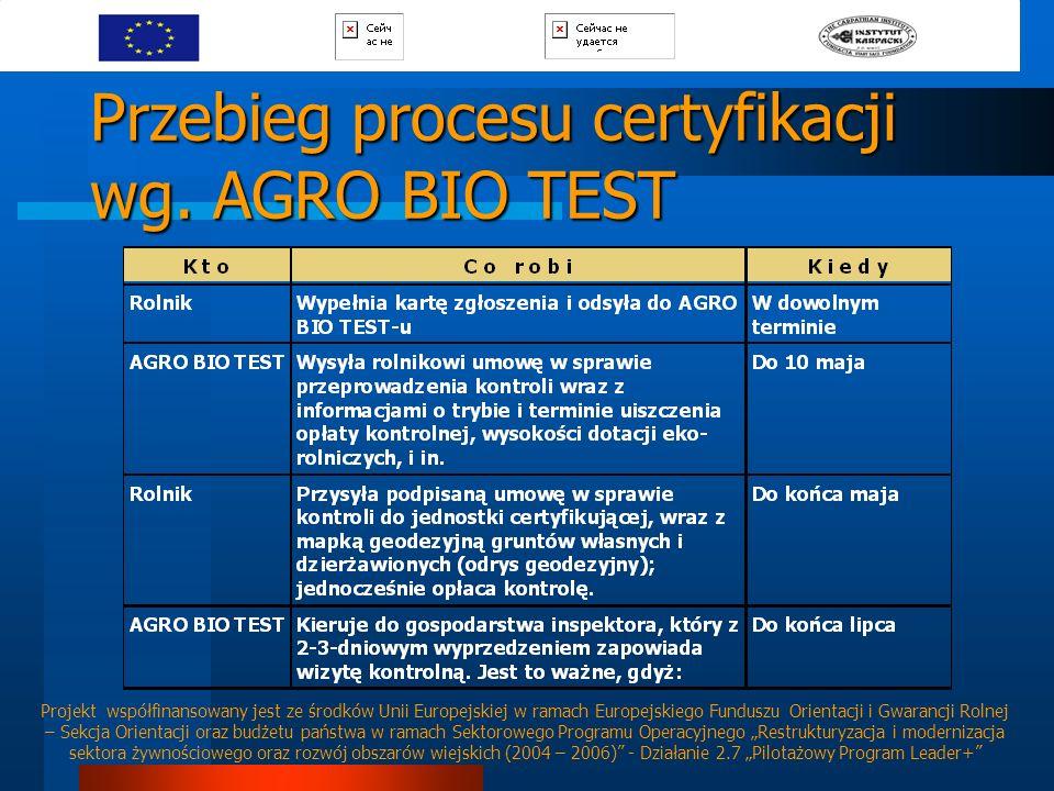 Przebieg procesu certyfikacji wg. AGRO BIO TEST Projekt współfinansowany jest ze środków Unii Europejskiej w ramach Europejskiego Funduszu Orientacji