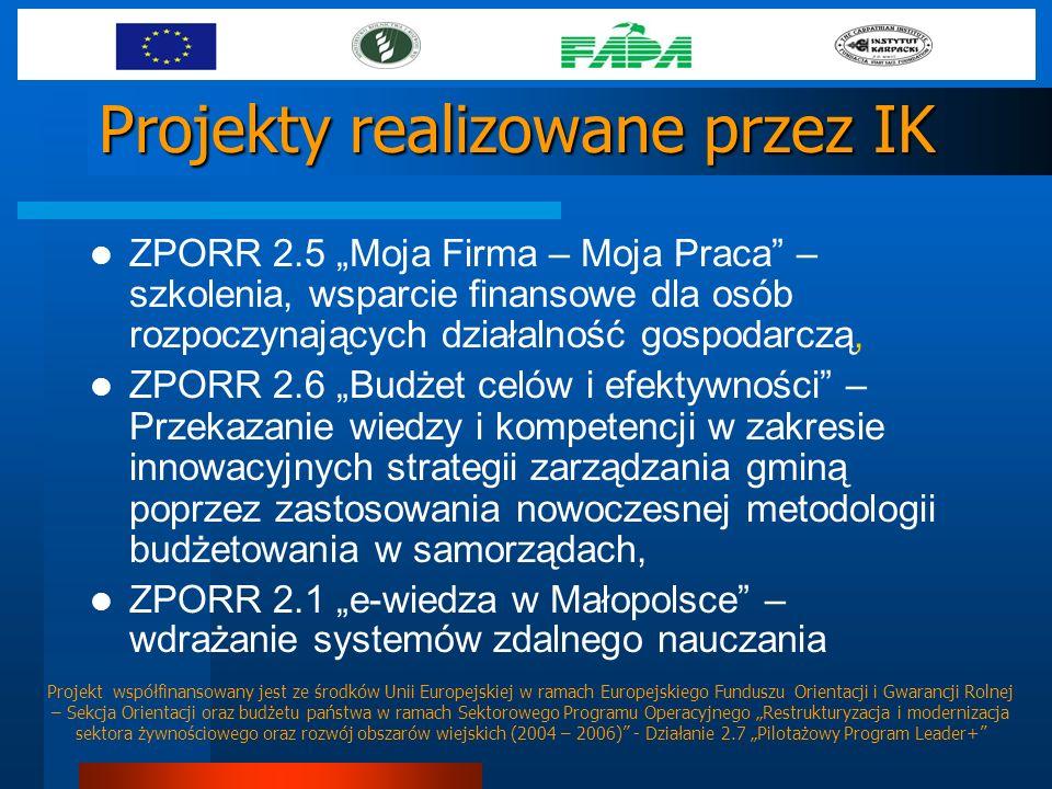 Projekty realizowane przez IK ZPORR 2.5 Moja Firma – Moja Praca – szkolenia, wsparcie finansowe dla osób rozpoczynających działalność gospodarczą, ZPO