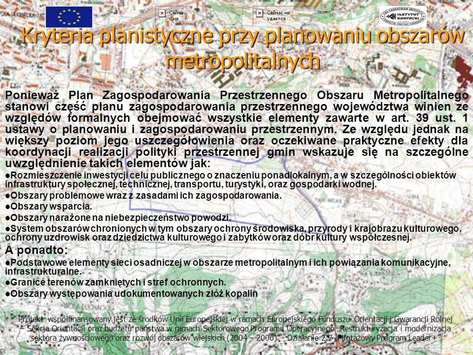Kryteria planistyczne przy planowaniu obszarów metropolitalnych Projekt współfinansowany jest ze środków Unii Europejskiej w ramach Europejskiego Fund
