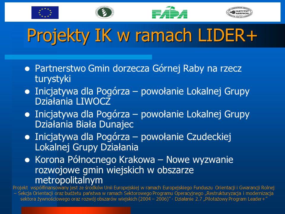 Projekty IK w ramach LIDER+ Partnerstwo Gmin dorzecza Górnej Raby na rzecz turystyki Inicjatywa dla Pogórza – powołanie Lokalnej Grupy Działania LIWOC