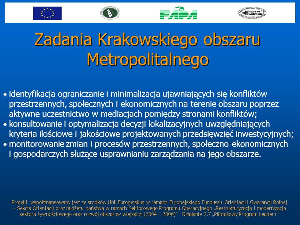 Zadania Krakowskiego obszaru Metropolitalnego Projekt współfinansowany jest ze środków Unii Europejskiej w ramach Europejskiego Funduszu Orientacji i