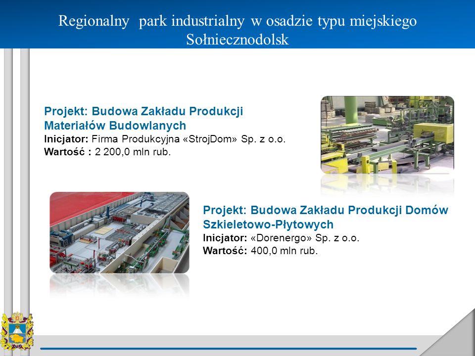 Regionalny park industrialny w osadzie typu miejskiego Sołniecznodolsk Projekt: Budowa Zakładu Produkcji Materiałów Budowlanych Inicjator: Firma Produ
