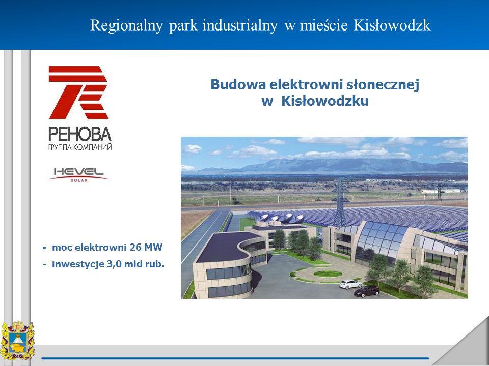 Regionalny park industrialny w mieście Kisłowodzk Budowa elektrowni słonecznej w Kisłowodzku - moc elektrowni 26 MW - inwestycje 3,0 mld rub.
