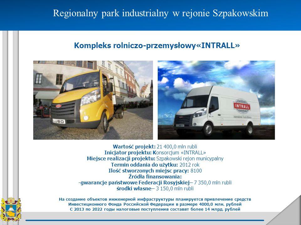 Regionalny park industrialny w rejonie Szpakowskim Kompleks rolniczo-przemysłowy«INTRALL» Wartość projekt: 21 400,0 mln rubli Inicjator projektu: Kons