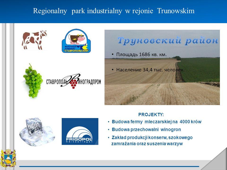 Regionalny park industrialny w rejonie Trunowskim PROJEKTY: Budowa fermy mleczarskiej na 4000 krów Budowa przechowalni winogron Zakład produkcji konse