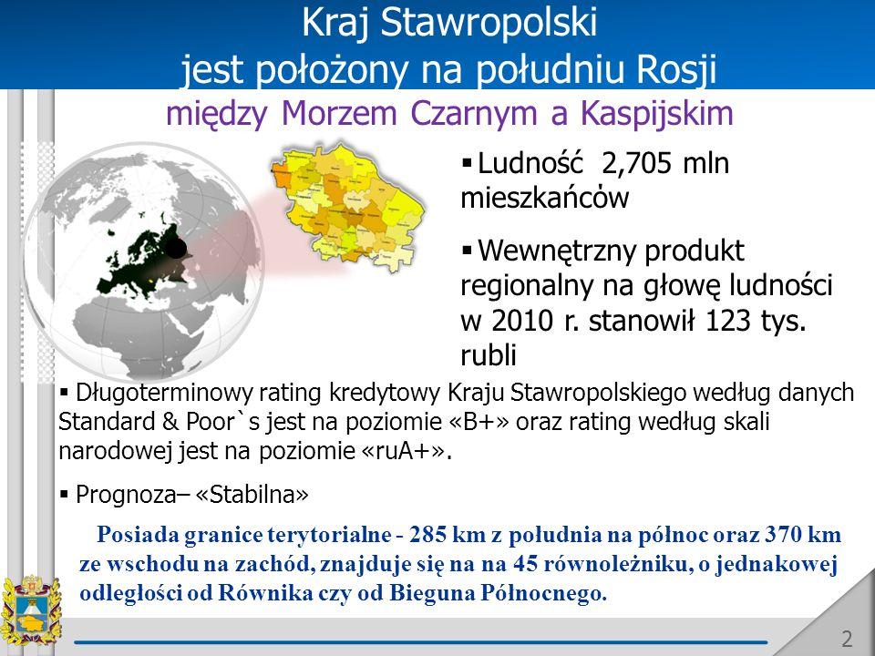 2 jest położony na południu Rosji między Morzem Czarnym a Kaspijskim Ludność 2,705 mln mieszkańcόw Wewnętrzny produkt regionalny na głowę ludności w 2