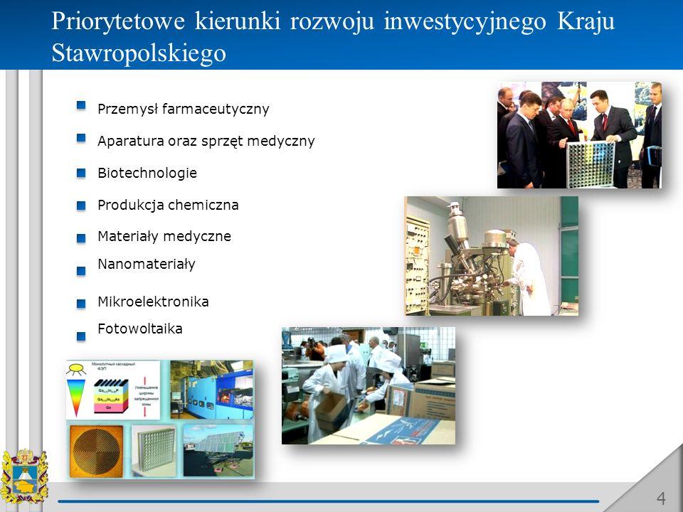 4 Priorytetowe kierunki rozwoju inwestycyjnego Kraju Stawropolskiego Przemysł farmaceutyczny Aparatura oraz sprzęt medyczny Biotechnologie Produkcja c