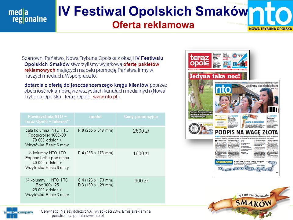 IV Festiwal Opolskich Smaków Oferta reklamowa Szanowni Państwo, Nowa Trybuna Opolska z okazji IV Festiwalu Opolskich Smaków stworzyliśmy wyjątkową ofe