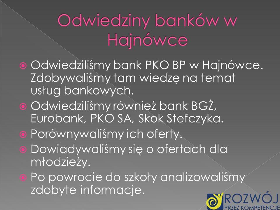 Odwiedziliśmy bank PKO BP w Hajnówce. Zdobywaliśmy tam wiedzę na temat usług bankowych. Odwiedziliśmy również bank BGŻ, Eurobank, PKO SA, Skok Stefczy