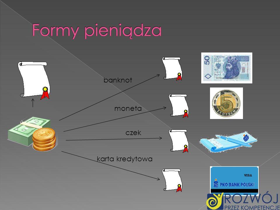 banknot moneta czek karta kredytowa