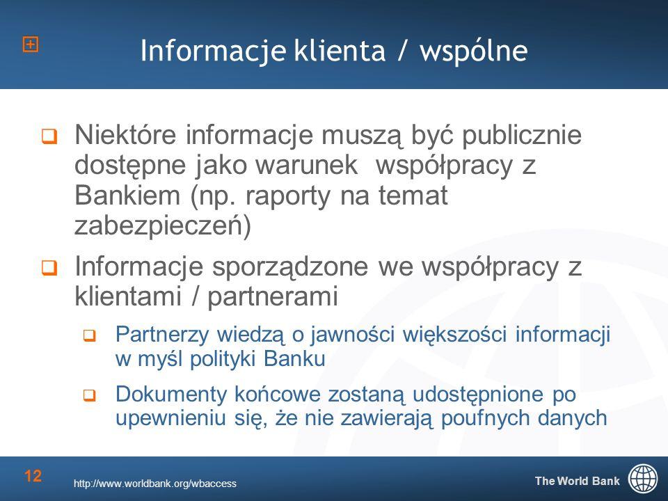 The World Bank 12 Informacje klienta / wspólne Niektóre informacje muszą być publicznie dostępne jako warunek współpracy z Bankiem (np.