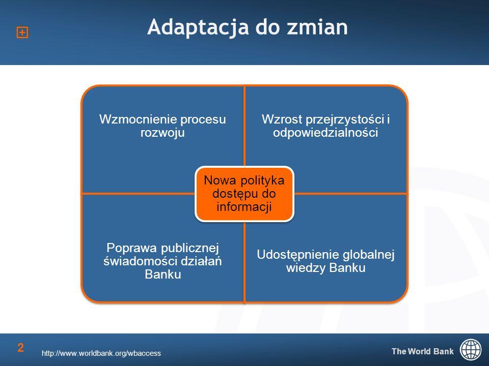 2 Adaptacja do zmian http://www.worldbank.org/wbaccess Wzmocnienie procesu rozwoju Wzrost przejrzystości i odpowiedzialności Poprawa publicznej świadomości działań Banku Udostępnienie globalnej wiedzy Banku Nowa polityka dostępu do informacji