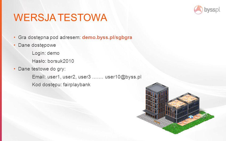 WERSJA TESTOWA Gra dostępna pod adresem: demo.byss.pl/sgbgra Dane dostępowe Login: demo Hasło: borsuk2010 Dane testowe do gry: Email: user1, user2, user3 …….
