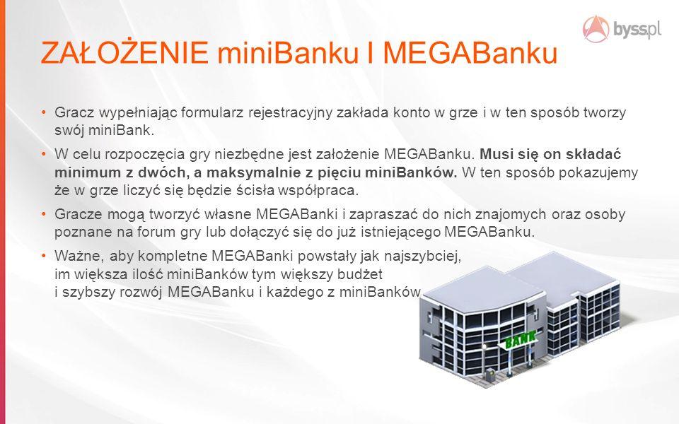 ZAŁOŻENIE miniBanku I MEGABanku Gracz wypełniając formularz rejestracyjny zakłada konto w grze i w ten sposób tworzy swój miniBank.